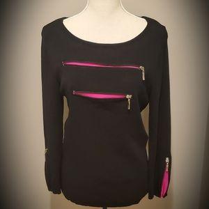 Zipper Accent Knit Top